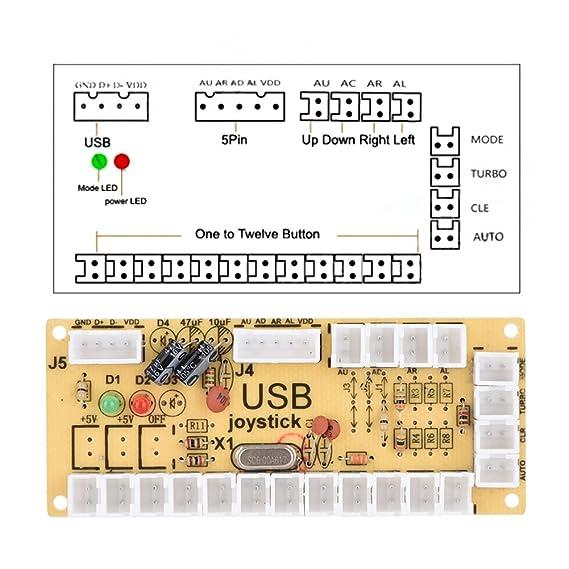 VBESTLIFE codificador - Joystick USB Arcade PC cero Suspensión, Kit de Joystick Arcade tuercas para Mame Jamma y juegos de combate.: Amazon.es: Electrónica