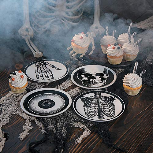 Fun Express Vintage Halloween Mini Ceramic Plates - 4 Pieces -