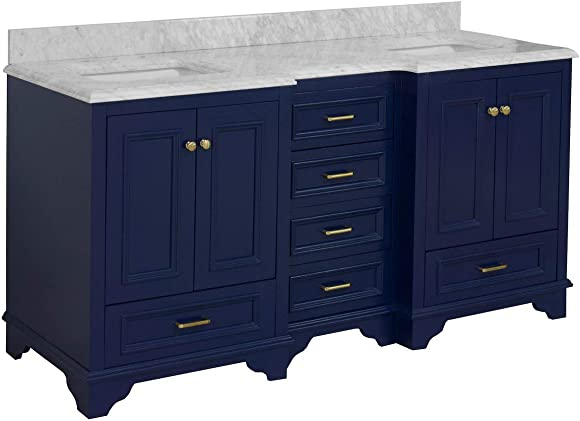 Nantucket 72-inch Double Bathroom Vanity Carrara/Royal Blue : Includes Royal Blue Cabinet
