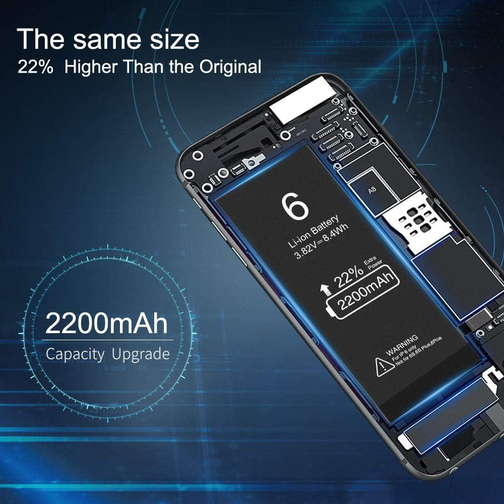 Batterie pour iPhone 6s Vancely 2200mAh Haute Capacit/é 6s Batterie Interne de Replacement avec Kit Doutils de R/éparation Professionnel Instruction,-2 Ans de Garantie