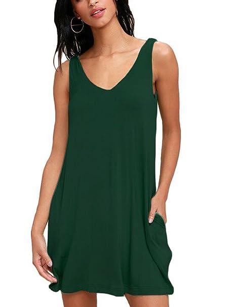 35699d562990 Amazon.com: DEARCASE Women's Sleeveless Pockets V-Neck Casual Dress Swing  Casual T-Shirt Dresses: Clothing
