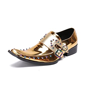 Zapatos de Hombre Zapatos de Cuero de la Novedad Primavera/Otoño/Invierno Comodidad/Zapatos de la Pasarela/Oro/Boda/Fiesta y Noche/Club Nocturno Mocasines ...