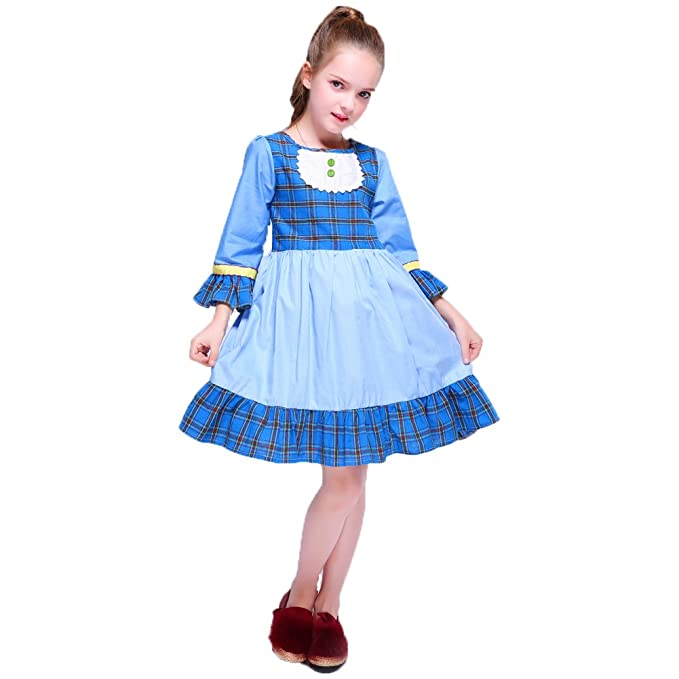 Vintage Style Children's Clothing: Girls, Boys, Baby, Toddler Kseniya Kids Big Little Girls Dresses Puff Sleeve Plaid Patchwork Girl Festival Dress Buttons $17.99 AT vintagedancer.com