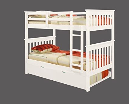 Amazon Com Bunk Bed Twin Over Twin Mission Style In White With Twin