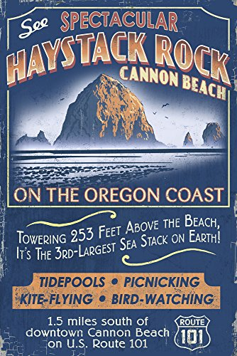 (Cannon Beach, Oregon - Haystack Rock Vintage Sign (9x12 Art Print, Wall Decor Travel Poster))