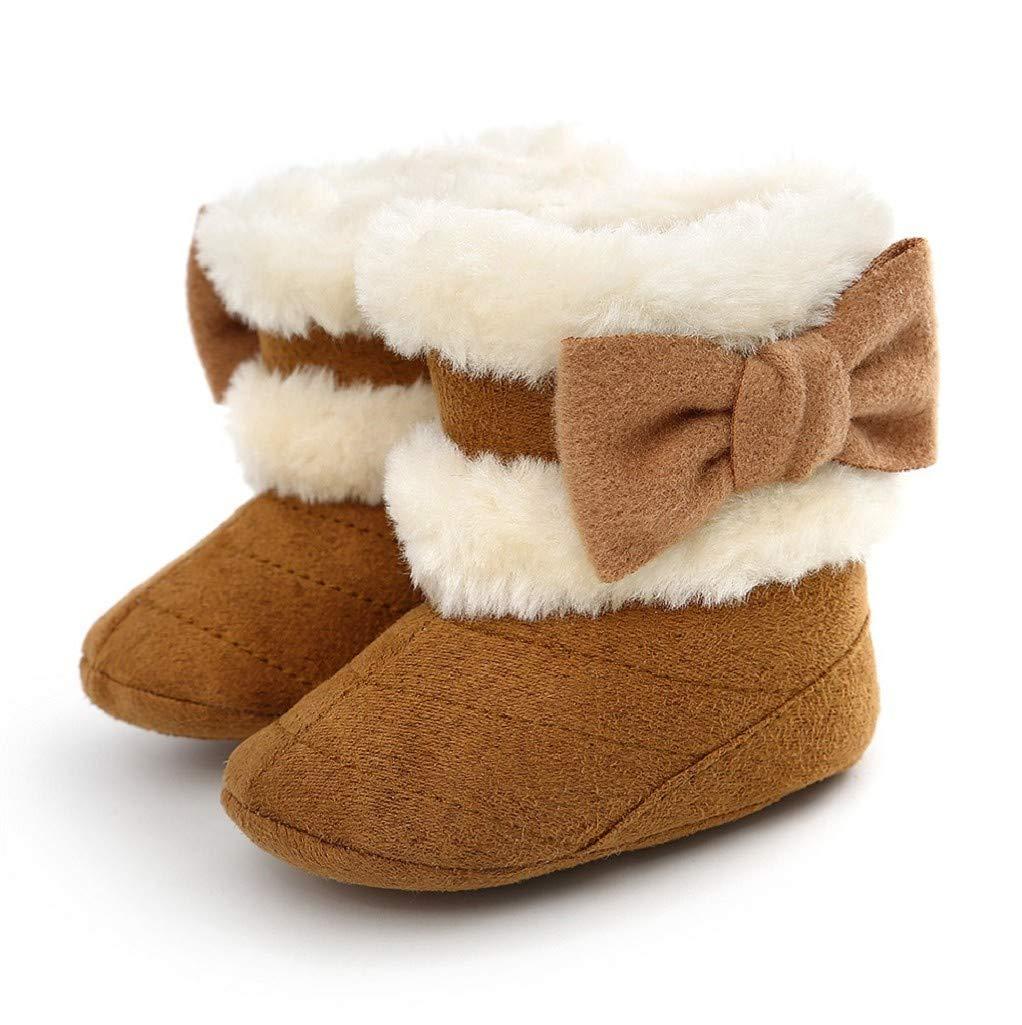 BeautyTop Baby Winter warme Stiefel Baby M/ädchen Weiche Sohle Krippe Warme Herzknopf Wohnungen Gestrickte Stiefel Kleinkind Vor Walker Boot Schuhe