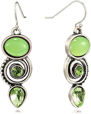 Green and silver simple dangle earrings