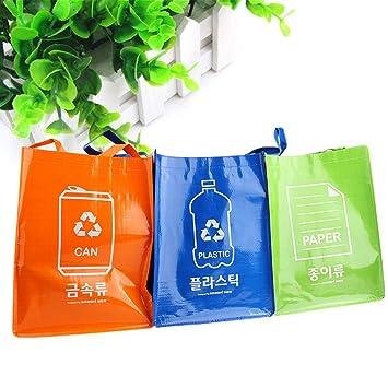 3 bolsas de reciclaje reutilizables con asas y accesorios de ...