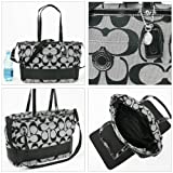 Coach Signature Stripe Multifunctional Travel Laptop Baby Diaper Convertible Messenger Tote Shoulder Bag 19202 Black