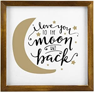 Generic Brands I Love You to The Moon and Back New Baby Gift Rustic Wood Framed Signs Hanging Farmhouse Wall Art Décor with Funny Saying for Home, Kitchen, Bathroom 12x12 inch