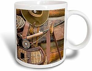 3dRose Montana Fishing Gear and hat, Log cabin-US27 BJA0046-Jaynes Gallery Magic Transforming Mug, 11 oz, Black/White