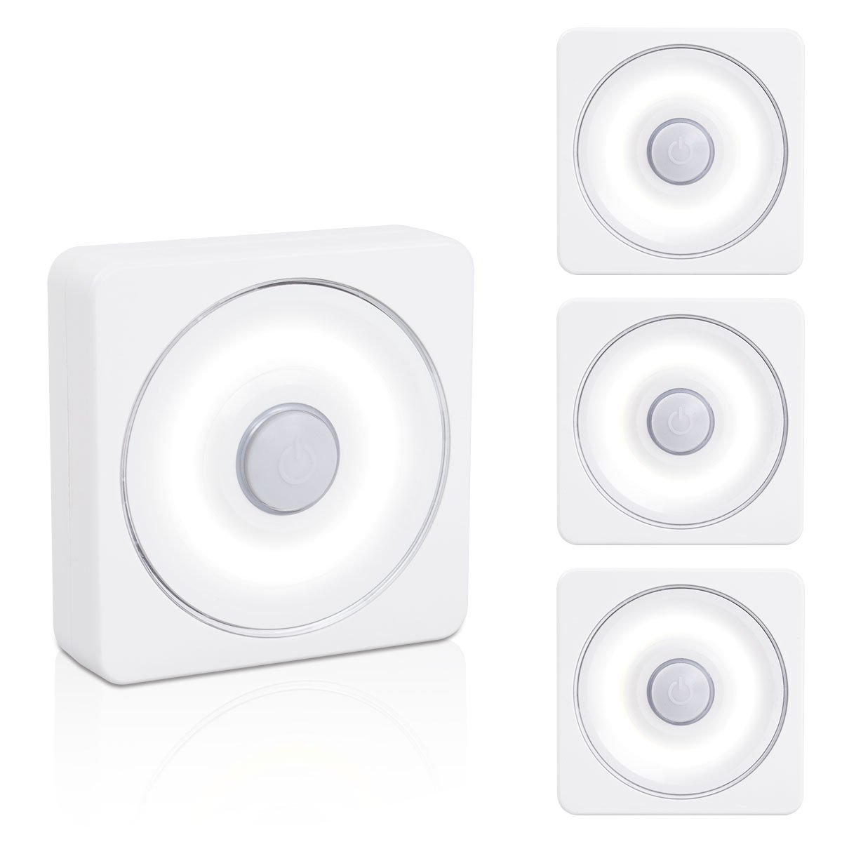 VIBELITE Tap Light, Closet light, Touch Battery-Powered LED Night Light, Magnet Stick-on Anywhere Stair light, Safe Lights for Hallway, Bedroom, Cabinets, etc. (White - Pack of 4)