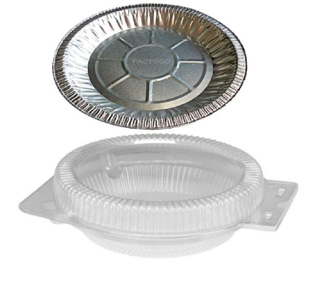 10'' Aluminum Foil Pie Pan Plate Tin 1-3/16'' Deep w/Clear Plastic Clamshell 50/PK