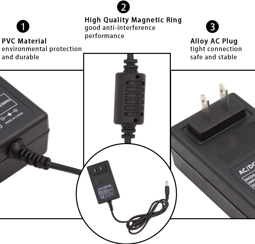 Cameras Wireless Router Audio//Video 12V 3A AC//DC Power Adapter 36W Input 100-240V to Output 12V AC//DC Adapter Power Supply Adapter 3000MA Compatible with HUB