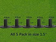 Golf Rubber Tees Driving Range Value 5 Pack, Same Sizes or Mixed Sizes for Practice Mat Black or White Color