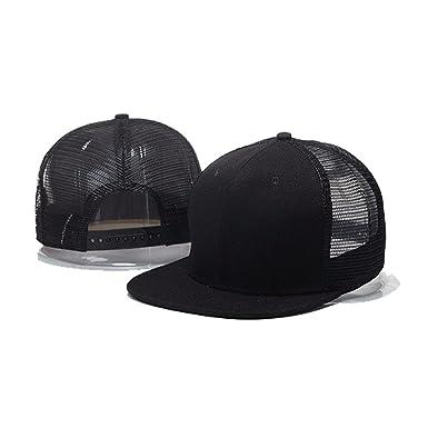 dda2ef37fccdd Opromo 6 Panel Flat Bill Mesh Trucker Hat Plain Adjustable Snapback  Baseball Cap-Black-
