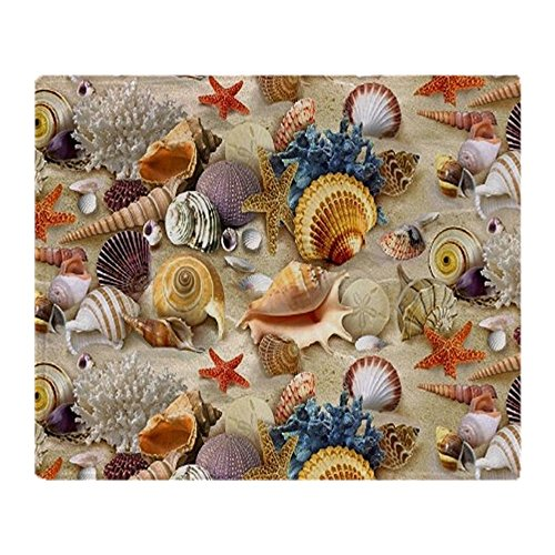 CafePress Seashells Starfish Blanket Stadium