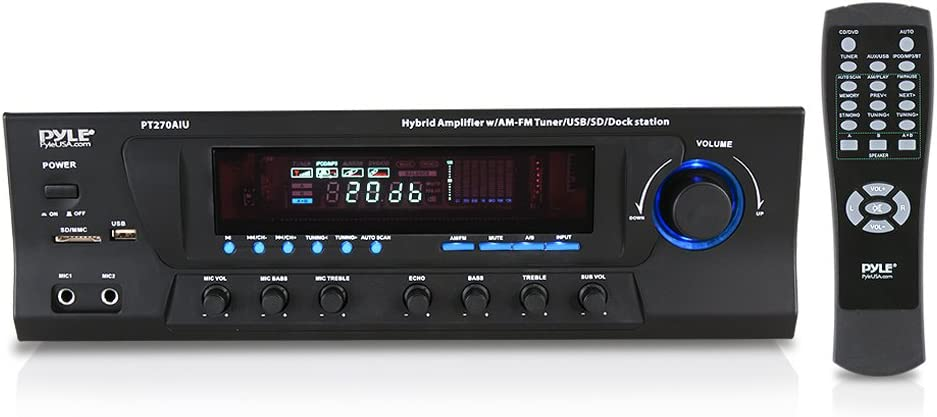 300W Digital Stereo Receiver System - AM/FM Qtz. Synthesized Tuner, USB/SD Card MP3 Player & Subwoofer Control, A/B Speaker, iPod/MP3 Input w/ Karaoke, Cable & Remote Sensor - PyleHome PT270AIU: Home Audio & Theater