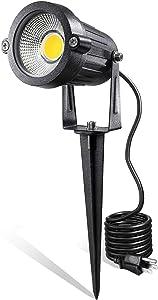 LED Landscape Lights,5W 120V AC Outdoor Pathway Garden Yard Spotlight,IP65 Waterproof Garden Flood Light,Outdoor Spotlight with Stake,UL Cord 5-ft with Plug (Pack of 1, Warm White)