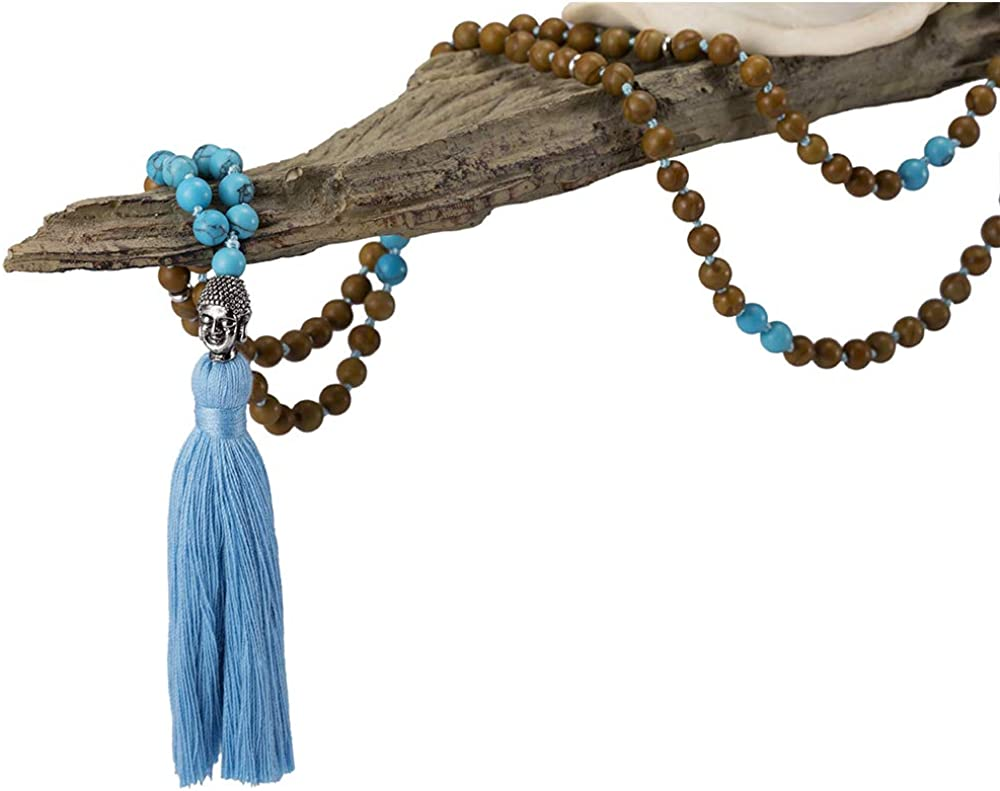 White Howlite Brown Tiger Eye Black Onyx Green Turquoise Buddhist Mala Self-Defense Necklace Seasame Jasper Japa Mala Necklace 108 Beads with Tassel for Anxiety