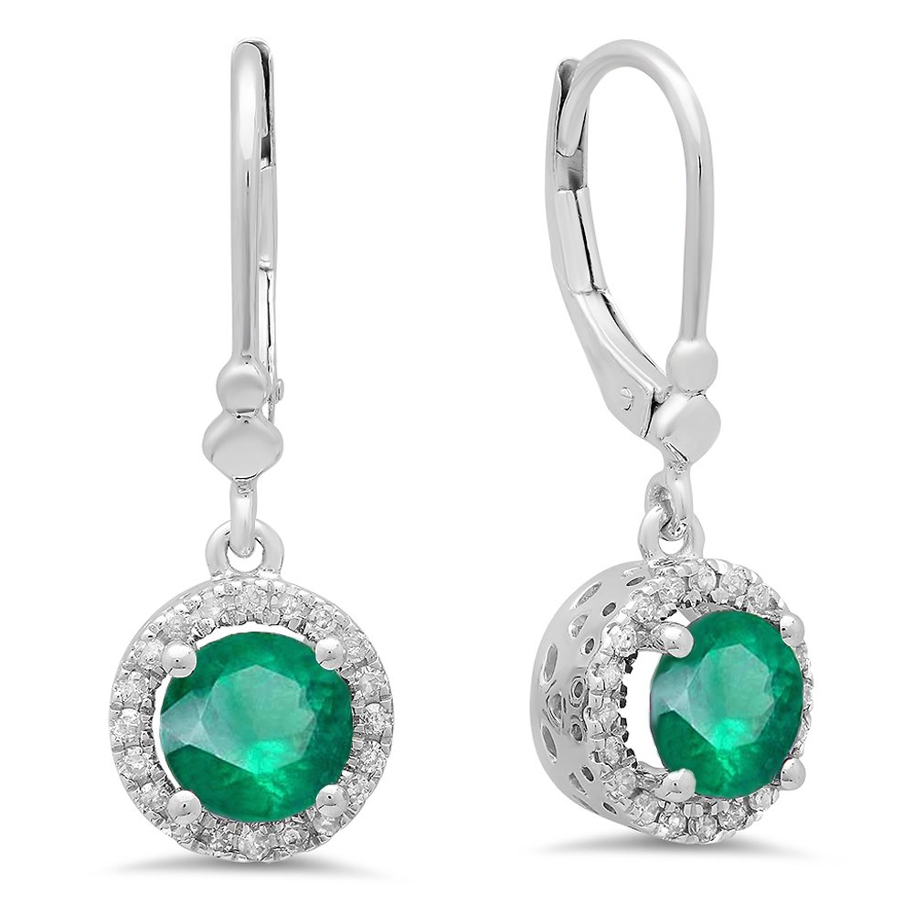 14K White Gold Round Emerald & White Diamond Ladies Halo Style Dangling Drop Earrings by DazzlingRock Collection