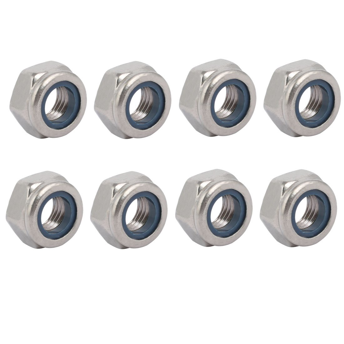 uxcell 8pcs M10 x 1.25mm Pitch Metric Fine Thread 304 Stainless Steel Hex Lock Nuts