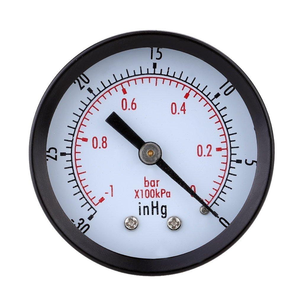 Pressure Gauge - SODIAL(R)Pressure Gauge - 0 ~ -30inHg 0 ~ -1 bar Mini Dial Air vacuum pressure gauge pressure gauge pressure gage vacuum manometer dual scale Black