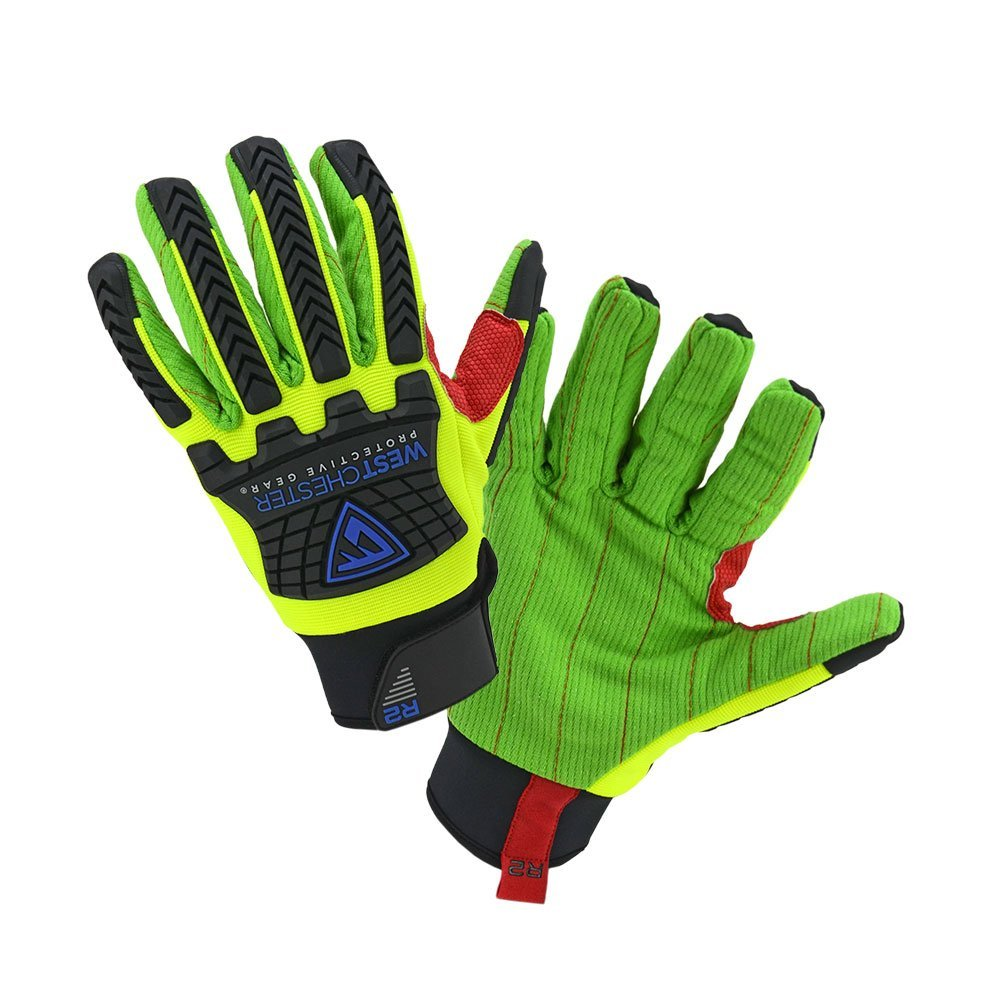 West Chester Impact Glove, 87800 R2 Corded Palm, 6 Pair