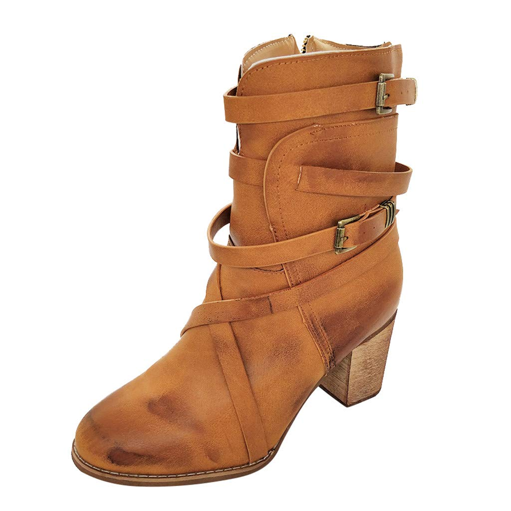 ❤Kauneus❤ Womens Round Toe Cross Buckle Strap Leather Vintage Booties Chunky Mid Heel Side Zipper Combat Ankle Boots