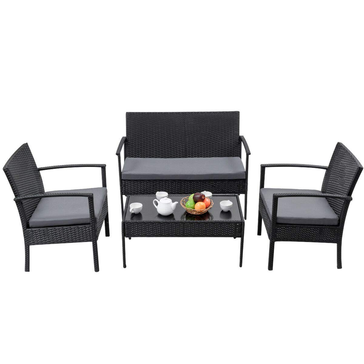 ANA Store Black Wicker Weaved Yard Seat Set of 4 Pcs Rectangle Body Tempered Glass Top Coffee Bar Sofa Side Talking Table with Bed Lounge 2 Armchair 4 Piece Rattan Outdoor Patio Group Dining Table