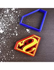"Superman Superhero Cookie Cutter & Fondant Cutter Classic Red & Blue Logo Set for Kids and Parents - Perfect for Cookies, Cake Decoration, Cupcake Toppers (1, Medium 3"" x 2.3"")"