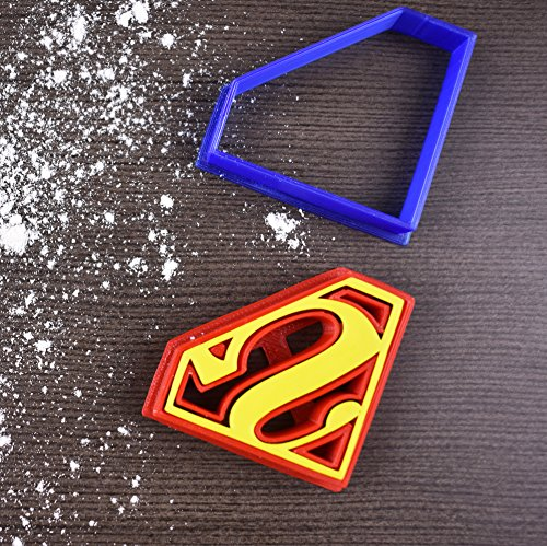 "Price comparison product image Superman Superhero Cookie Cutter & Fondant Cutter Classic Red & Blue Logo Set for Kids and Parents - Perfect for Cookies,  Cake Decoration,  Cupcake Toppers (1,  Medium 3"" x 2.3"")"