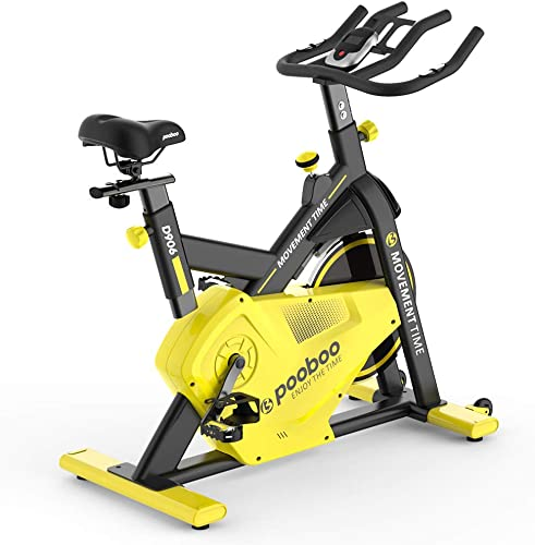 pooboo Indoor Cycling Bike Cycling Trainer Exercise Bike Belt Drive Stationary Bike with LCD Monitor