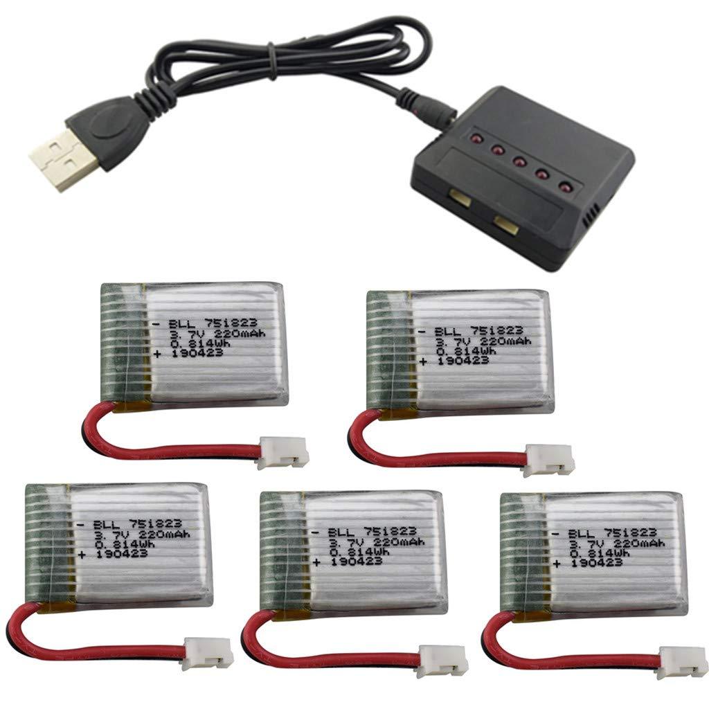 Fytoo 5PCS 3.7V 220mah Lipo Batería y 5 en 1 Cargador para E010 ...