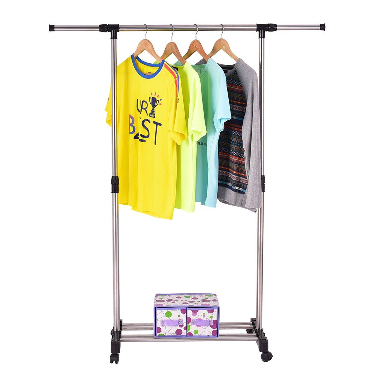 Amazon.com: COLIBROX  Rolling Garment Rack Closet Organizer Shelf