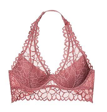 6bfbb29ec9538 Victoria s Secret Pink Floral Lace Halter Bralette Bra Large (A-C) Soft  Begonia
