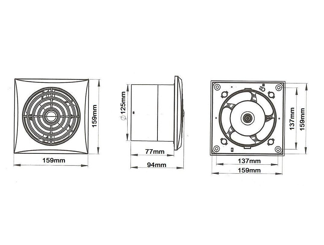 Muy Silencioso y potente ventilador de extractor de ba/ño 125/mm//5/rodamiento de bolas con temporizador y sensor de movimiento silencioso ventilador de bajo consumo wz125r
