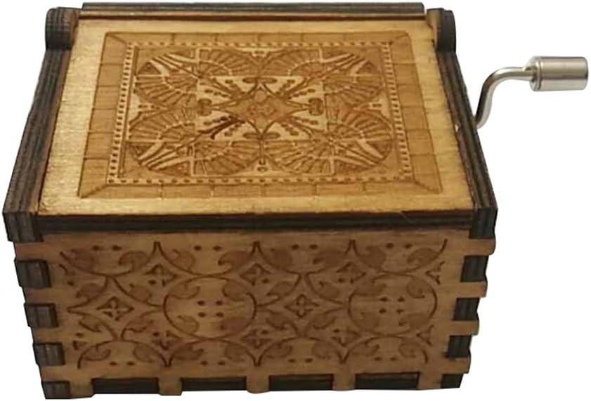 FORUSKY Caja de m/úsica de Madera Tallada a Mano para decoraci/ón del hogar Juguetes Manualidades Regalo