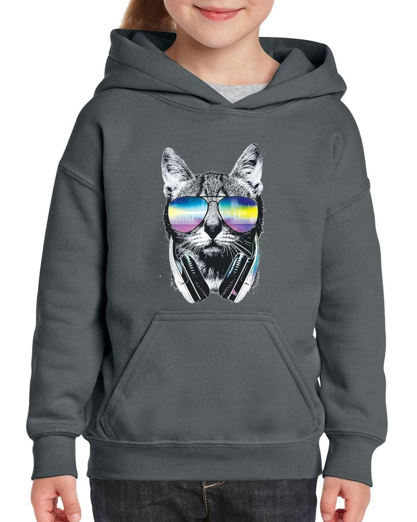 Xekia Cool Cat with Headphones and Sunglasses Hoodie For Girls and Boys Youth Kids Medium Charcoal