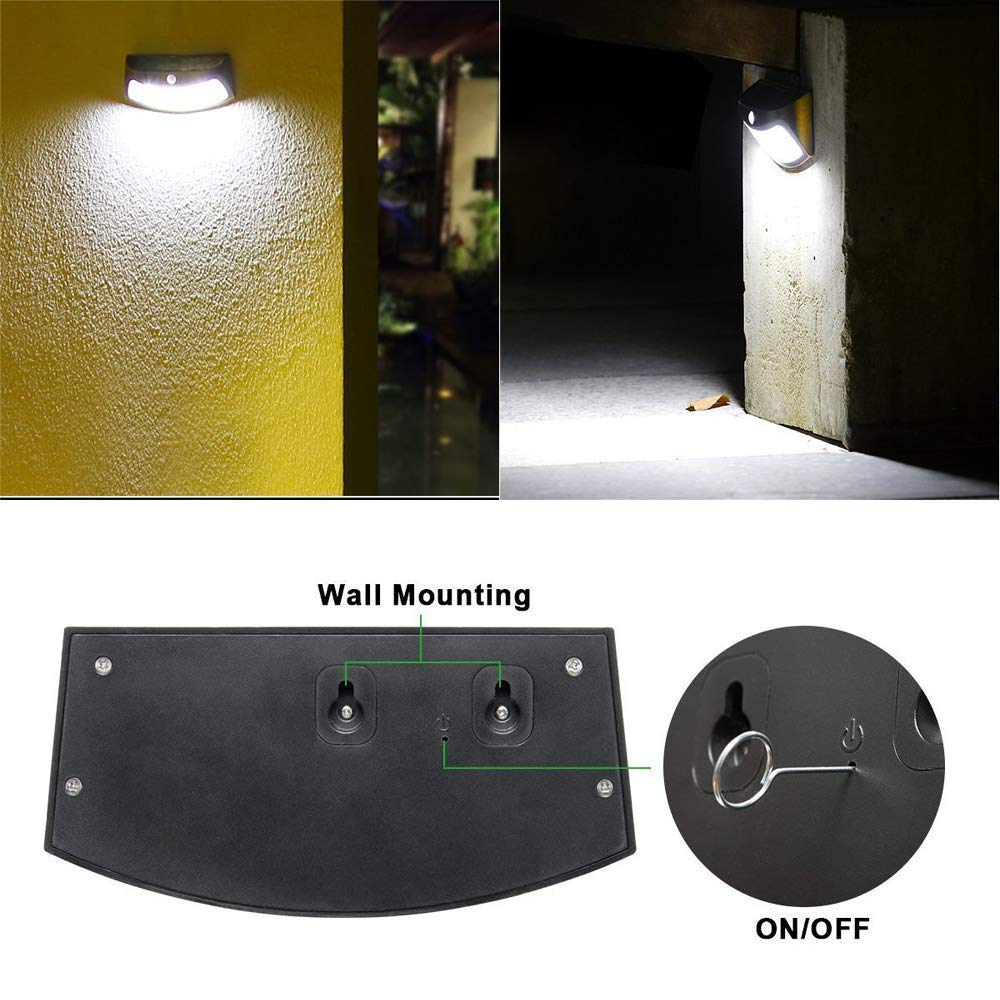 ROSHWEY Solar Step Lights Outdoor, 8 LED Deck Light Waterproof Wall Lamps with PIR Motion Sensor for Garden Patio Stair Walkway (Pack of 2, Cool White Light)