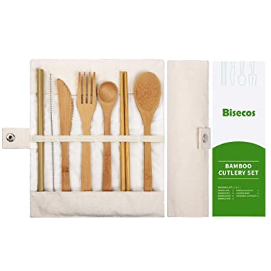 Bamboo Utensils | Bamboo Travel Utensils | Bamboo Cutlery Set | Knife, Fork, Spoon, Reusable Straws and Chopsticks | Reusable Flatware Set