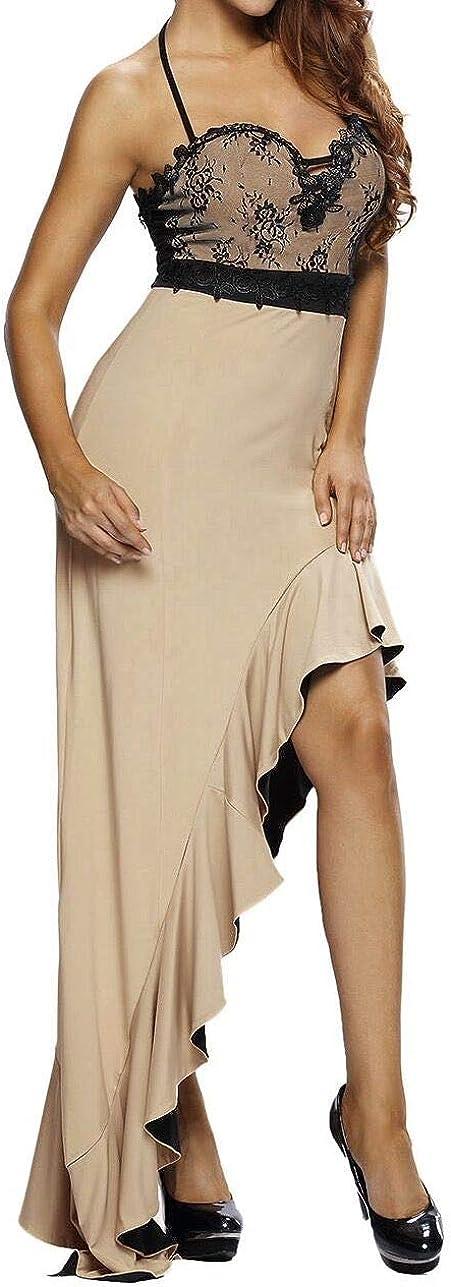 Love Needs Women Spaghetti Straps Halterneck Gradient Ruffled Hem Lace Mesh Evening Dress