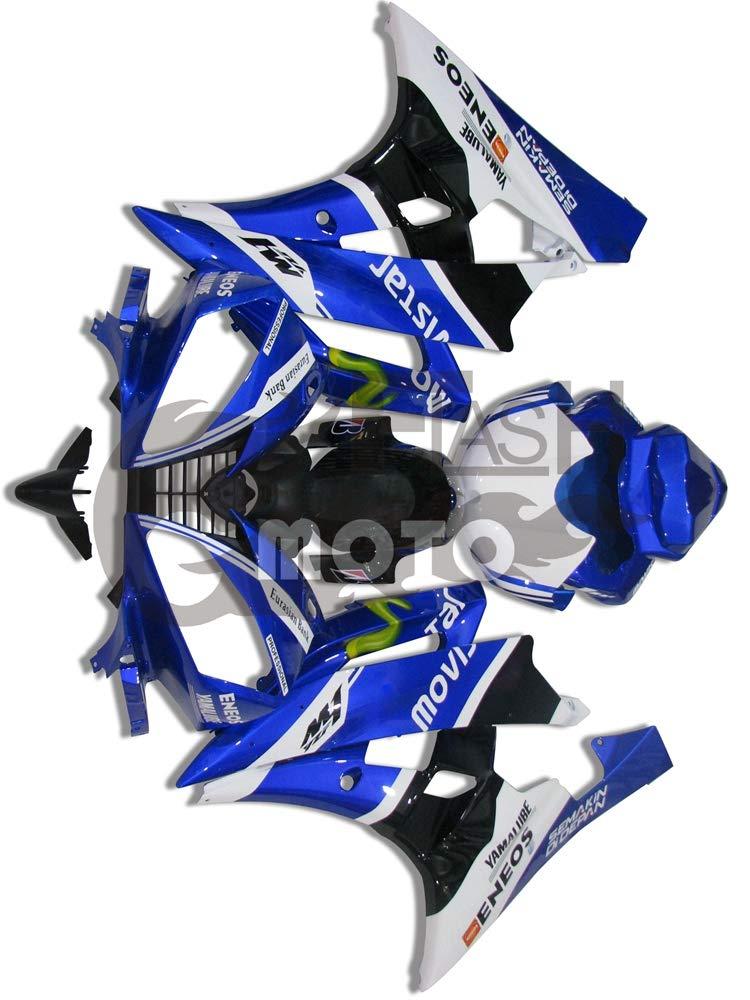 FlashMoto yamaha ヤマハ YZF-600 R6 2006 2007用フェアリング 塗装済 オートバイ用射出成型ABS樹脂ボディワークのフェアリングキットセット (ブルー,ホワイト)   B07LF277RB
