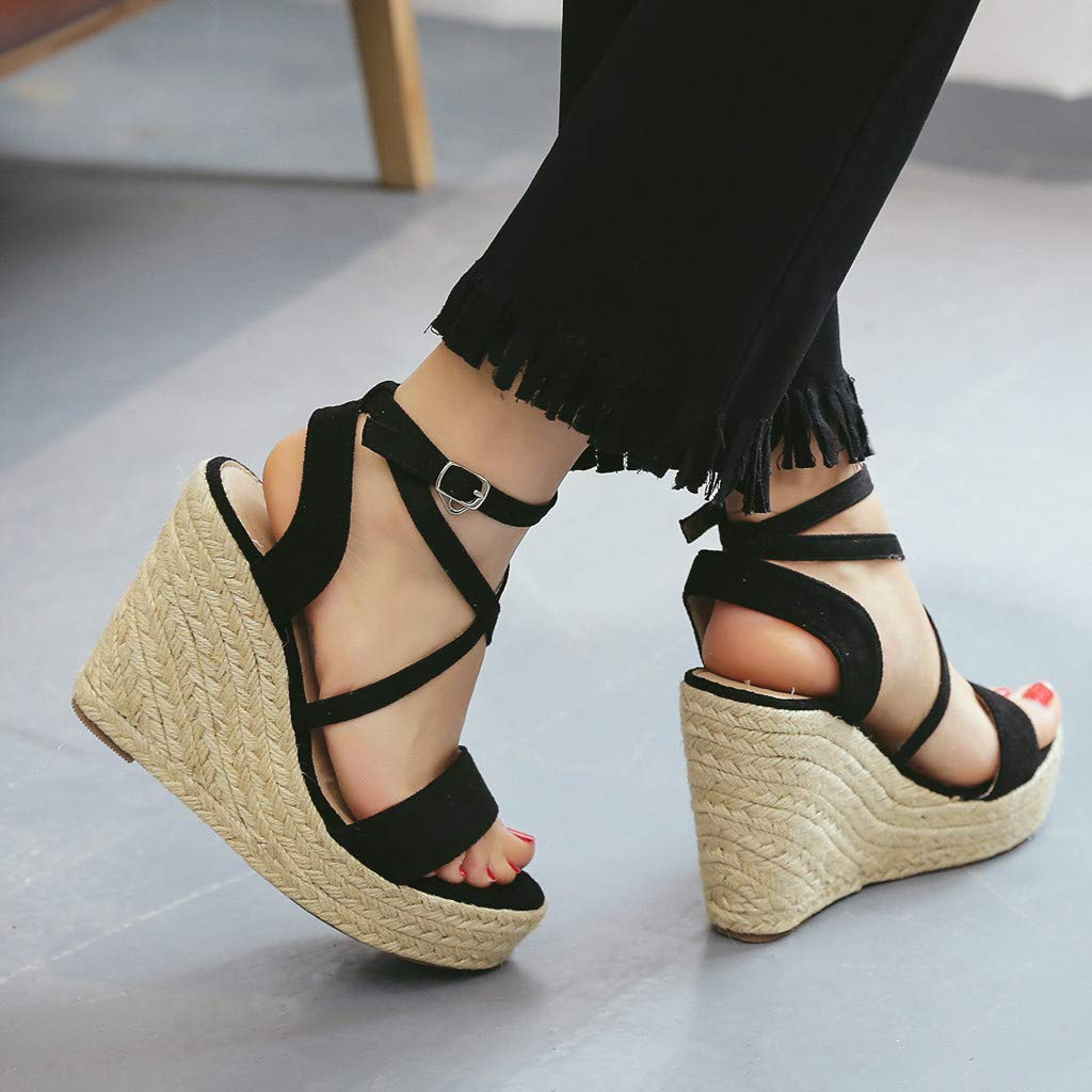 Womens Wedges Sandals High Platform Open Toe Ankle Strap Shoes Cross Strap Beach Shoes