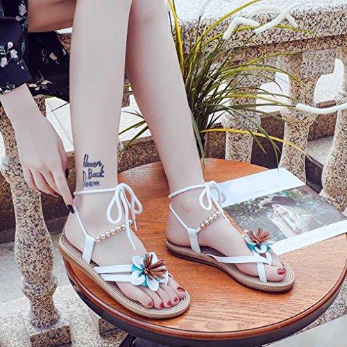 Noires de Bande Plage Sandales Beautyjourney de Sandales de Blanc de Sandales Mules Fleur de Fille Femme Bandes de Boheme Chaussures CompenséEs qPwpz60Ew