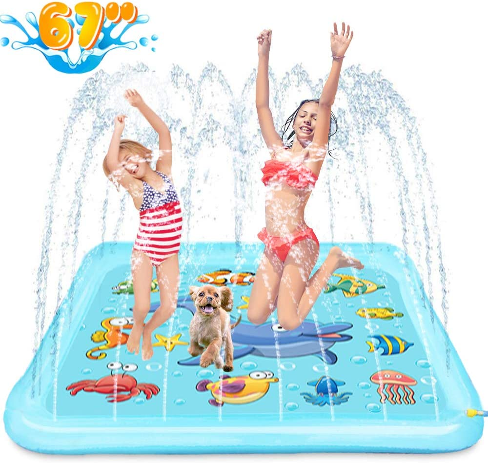 "Growsland Splash Pad - 67"" Sprinkler for Kids Outdoor Toys Fun Summer Water Pool Sprinkler Play Mat Outside Backyard Water Toy for Baby Toddlers Girls Boys"