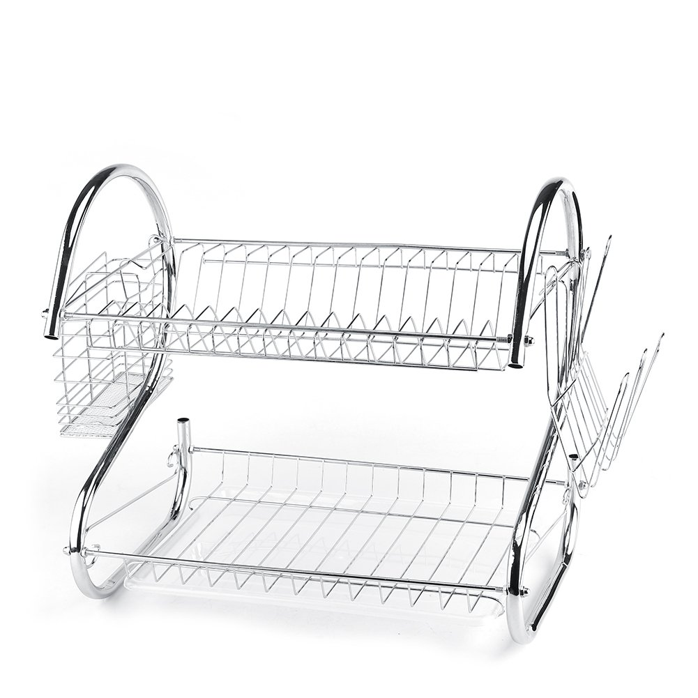 Dish Drainer, Asixx 2 Tier Stainless Steel Kitchen Dish Dryer Rack with Chopsticks Cage and Installation Tools for Cups, Chopsticks and Spoons