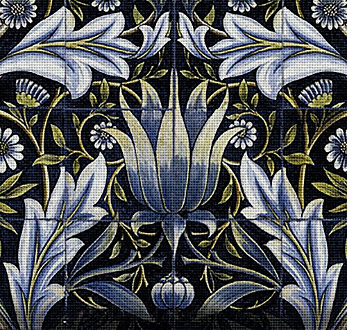 Blue Needlepoint (Art Needlepoint Blue Acanthus Kit by William Morris)