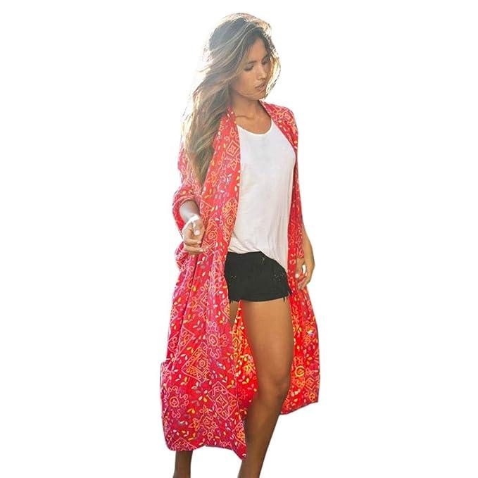 Amazon.com: gbsell Hippie Rojo de La Mujer Loose Larga Chal ...