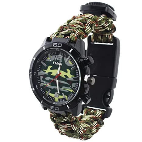 Amazon.com: Fashion Outdoor Survival Men Watch - Paracord Rope Hand-Woven Strap Multifunction with Military Compass Thermometer Wrist Watch for Men, ...